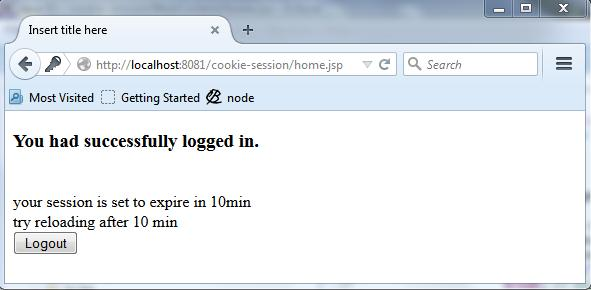 Cookie login logout session example using Servlet jsp source