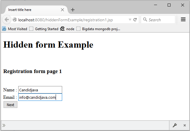 Explain Hidden form using Servlet and JSP with example?