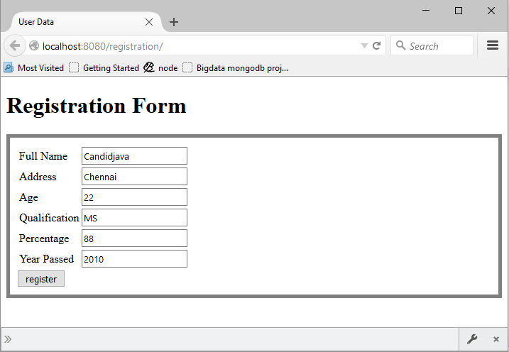 Simple registration example using servlet and JSP